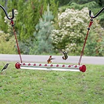 Best Hummingbird Feeder with Hole Birds Feeding Transparent Pipe Easy to Use Bird Feeder,Red Transparent Tube,Suitable for Outdoor Ground Tree Garden Yard Decor Easy to Use  40CM