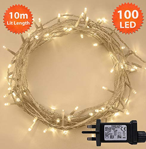 Fairy Lights 100 LED 10m Warm White Indoor/Outdoor...