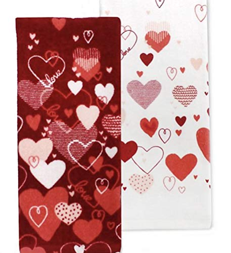 Celebrate Valentine's Day Together 2-Pack Kitchen Towel Set - Watercolor Hearts