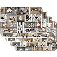 tovagliette stampate love in the air, tovagliette da tavola, tovaglietta, tovaglietta per sala da pranzo, a prova di cibo, 4 pezzi, 30 x 450 cm, venilia 59068