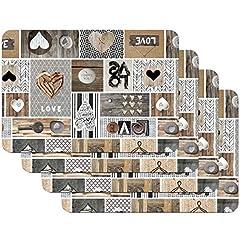 Idea Regalo - Tovagliette stampate Love in the air, Tovagliette da Tavola, tovaglietta, Tovaglietta per sala da pranzo, a prova di cibo, 4 pezzi, 30 x 450 cm, Venilia 59068