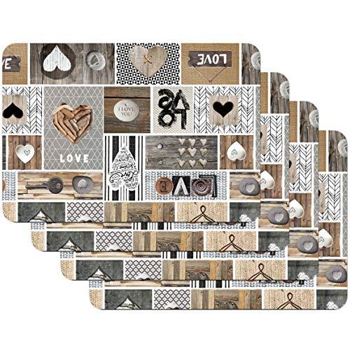 Venilia Set de table LOVE IN THE AIR, 45 x 30 cm, 4 pcs, antidérapant résiste à la chaleur et fait, Polypropylène, 59068