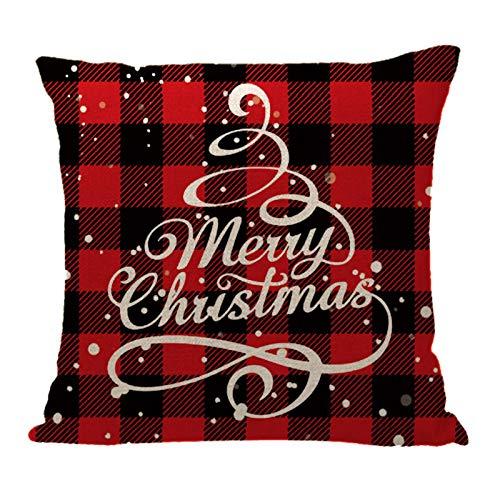HINK Funda de cojín de decoración navideña para el hogar, Funda de Almohada Familiar, Funda de Almohada de...