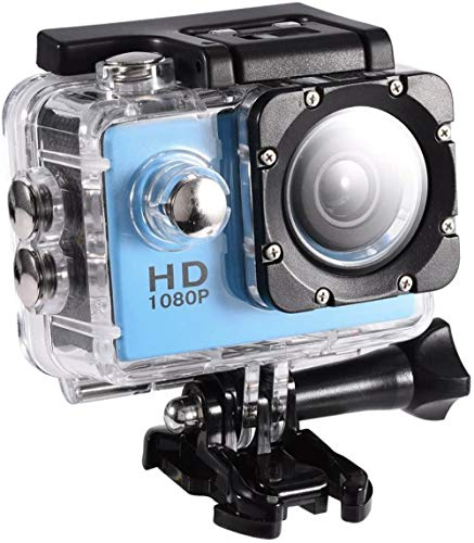 Mini cámara de acción impermeable, mini videocámara deportiva DV con pantalla de 2 pulgadas, 30 m, soporte subacuático, tarjetas de almacenamiento de hasta 32 GB 90 ° ángulo de fotografía