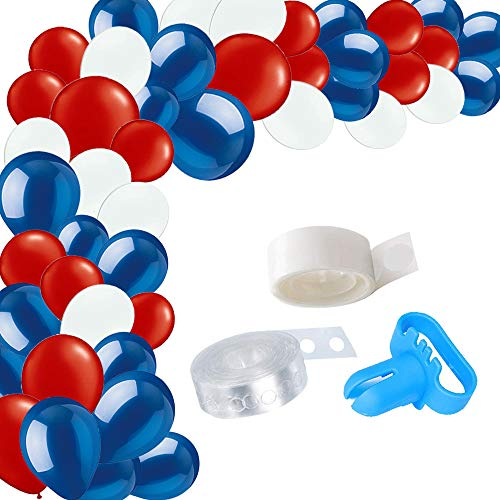 100Pcs Superhero Party Balloon Garland & Arch Kit-100pcs Blue Red White Latex Balloons, 16 Feets Arch Balloon Decoration Strip for Superman Spiderman Party Baby Shower Birthday Party