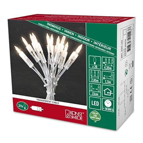 Konstsmide 6301-123 LED Minilichterkette / für Innen (IP20) 230V Innen / One String / mit Schalter / 20 warm weiße Dioden / transparentes Kabel