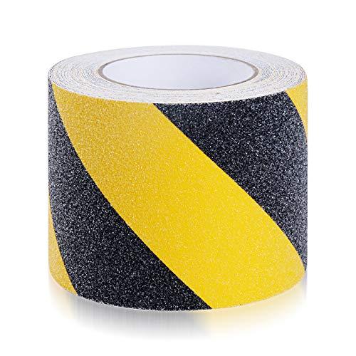 Suprosper 滑り止めテープ 10cm*10m 階段 屋外 屋内兼用 耐水性 鉱物粒子タイプ (10cm*10m 黄色と黒色)
