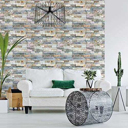 1 stickers, zelfklevend, motief steentjes, wandbekleding, zelfklevend, wandstickers van stenen, voor badkamer, keuken, woonkamer, zelfklevend behang, 60 x 60 cm, 1 stuk
