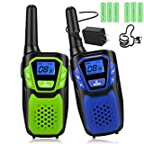 Walkie Talkies for Adult, Rechargeable Long Range Walky Talky Handheld Two Way Radio with NOAA Weather Channel, 6x1000MAH AA Batteries and USB Charger Included (Blue and Green 2 Pack)