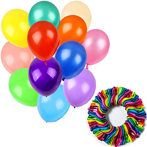 Tomario 60 Assorted Party Balloons, 12 Inches 12-Colour Rainbow Latex Balloons for Party Decoration, Birthday Party , Weddings, Anniversaries, Celebrations, Arch Decoration