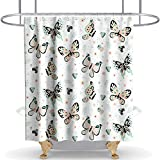 N\A Cortina de Ducha Floral Mariposas Tela Tela Niñas Baño Decoración Set con Ganchos Impermeable Lavable