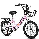 FUFU Bicicleta Al Aire Libre para Niños, 18-20 Pulgadas, Marco Plegable, Bicicleta De Niño Y Niña, Adecuado para 7-14 Años De Edad(Size:18in,Color:Rosa)