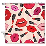 rioengnakg Schimmelresistent Stoff Sexy Lip & Lippenstift Modern Style Polyester Duschvorhang wasserdicht, Polyester, #1, 66