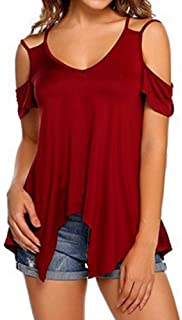 Suncolor8 Women's V-Neck Short-Sleeve Summer Cold Shoulder T-Shirt Blouse Top