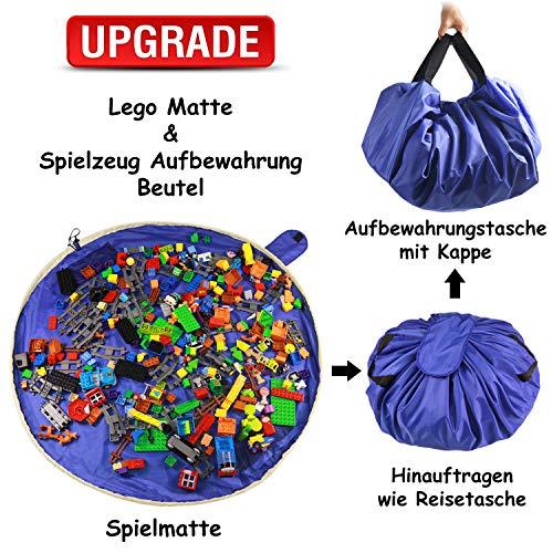 SUMBABO Spielzeug Aufraeumsack Teppich Decke Sack für Lego - Spielzeug Aufbewahrung Matte Tasche für Kinder Spielmatte Sack von Kordelzug mit Kappe wie Reisetasche als Geschenk