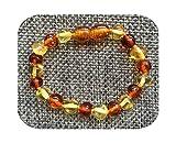 Bracelet Pulsera de dentición ámbar para niños y niñas, regalo de ámbar báltico natural, joyería para adultos, tallas 13 – 23 cm-1 dorada, 1 coñac-15 cm, pulsera para niños