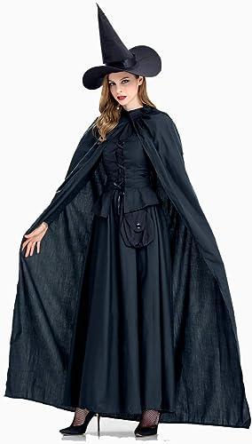 XSQR Cape Noir HalFaibleeen Cosplay Bathomme Femme Sorcière Costume