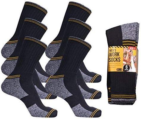Mens Work Socks Heavy Duty Cushioned Foot Bottom Heel /& Toe Cotton Rich Socks UK