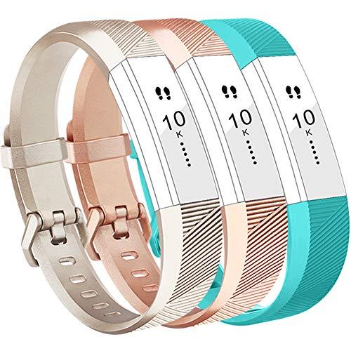 Vancle Fitbit Alta HR Armband, Fitbit Alta Armband Weiches Sports Ersetzerband Silikagel Fitness Verstellbares Uhrenarmband für Fitbi Alta und Fitbit Alta HR (Champagne Rosegold Teal, Small)