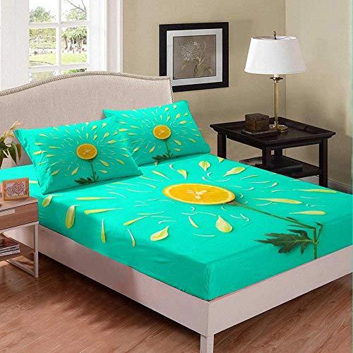 Msortatnl Duvet Cover With Pillow Cases Simple Creative Orange Fruit Yellow Cyan - Quilt Cover Bedding Bedroom Set Single (135 X 200 Cm)