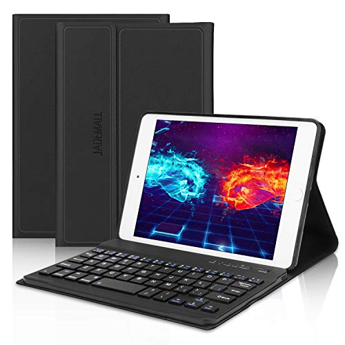 iPad Mini Keyboard Case Compatible for iPad Mini 5 (5th Gen 2019) - iPad Mini 4, Mini 3, Mini 2 & 1, Wireless Bluetooth Keyboard with Case, Folio Smart Leather Protective Cover, Thin & Light, Black