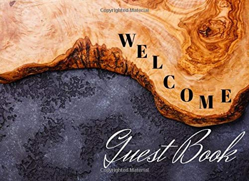 """Welcome guest book: Rustic Log Guest Book for Vacation Home, Cabin house Guest Log Book for Vacation Rental, Airbnb, VRBO and more Paperback easy to sign in pages.8.5""""x6"""" vintage wooden design"""