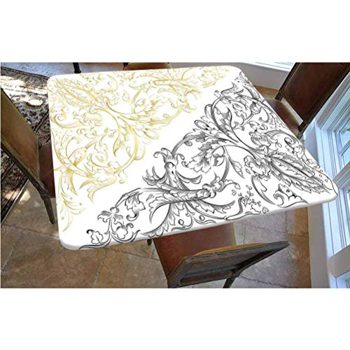 Floral Polyester Fitted Tablecloth,Floral Arrangement Two Palette Flowers Curls Swirls Leaves Petals Square Elastic Edge Fitted Table Cover,Fits Square Tables 48x48 Yellow Black