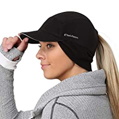 INNOVATIVE AND VERSATILE -This winter hat features a drop down fleece design for protecting your ears and neck from the cold and wind. As your body warms up, simply flip the ear wamer up to help regulate body temperature. PONYTAIL HAT - The subtle po...