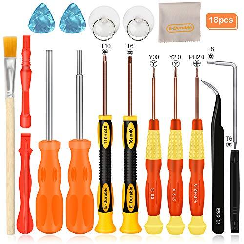 E.Durable Triwing Screwdriver for Nintendo, 18in1 Professional Full Tri wing Security Screwdrivers Gamebit Repair Tool Kit for Nintendo Switch JoyCon New 3DS/Wii/NES/SNES/DS Lite/GBA/Gamecube (18in1)