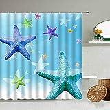XCBN Cartoon Starfish Shell Coral Duschvorhang Blau Kinder Badezimmer wasserdichte Gardinen Home Decoration Mit Haken Set A5 150x200cm
