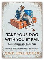 犬は鉄道で旅行します メタルポスター壁画ショップ看板ショップ看板表示板金属板ブリキ看板情報防水装飾レストラン日本食料品店カフェ旅行用品誕生日新年クリスマスパーティーギフト