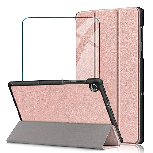 WenJie Funda para Samsung Galaxy Tab A 8.0 2019 SM-T290 SM-T295 + Vidrio Templado, Carcasa Folio Ligera con Carcasa Silicona TPU Smart Cover Case con Soporte Función - Rosa