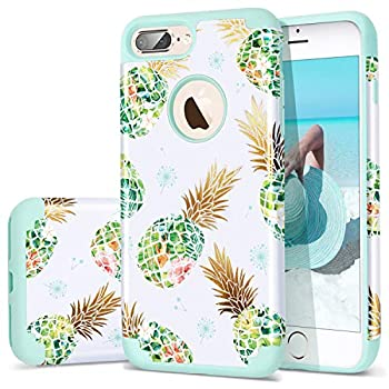 Fingic Case for iPhone 7 Plus,iPhone 8 Plus Pineapple Case,Cute Shiny Green Pineapple Tropical Design Summer Case for Girls Women 2 in1 Hybrid Silicone Skin Cover iPhone 7 Plus/8 Plus,Green
