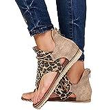 Sandalias cómodas para mujer Estampado de leopardo Casual Vintage Flip Flop Ahueca hacia fuera Sandalias de punta abierta Corrector de juanetes Zapatos de punta abierta Moda para mujer Tacón plano sin
