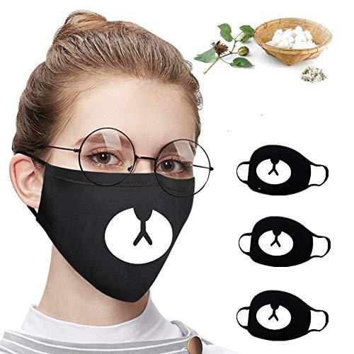 3PCS Reusable Women Men Black Anti-Dust Cotton Cute Bear Anime Cartoon Mouth Mask Kpop teeth mouth Fashion Muffle Face Mouth Masks