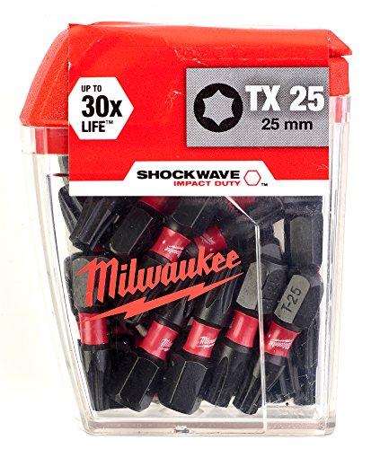 Milwaukee 4002395385423 Schrauberbit Shockwave Gen II (25er Pack) TX25 / 25 mm