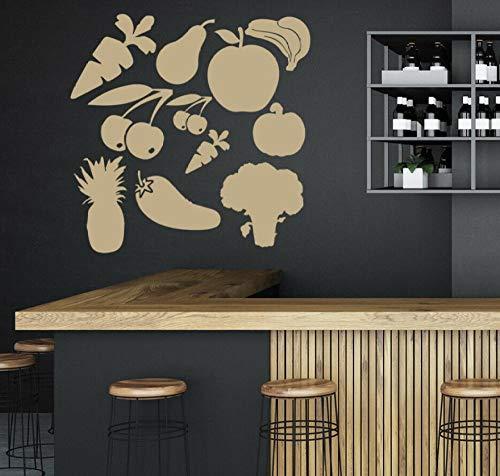 Pegatina Fotomurales Juego De Frutas Y Verduras Cocina Restaurante Comedor Decoración Interior Vinilo Para Puerta Ventana Niños Iluminado 57X57 cm