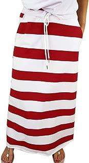 Mini Skirt Womens Fashion Stripe Hight Waist Maxi Mini Skirt Red