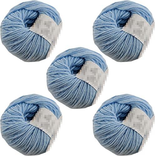 Hilo Ovillo de Lana Hilo 50% Acrílico 50% Algodón 130m 50g , Para tejer, Ganchillo, DIY y crochet, Agujas Talla 3(1/2)-4(1/2) (Celeste Pack 5)