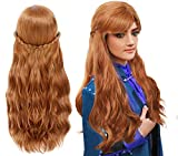 Anogol Hair Cap+Brown Wig for Princess Long Wavy Wigs for Women with Bangs Cosplay Wig