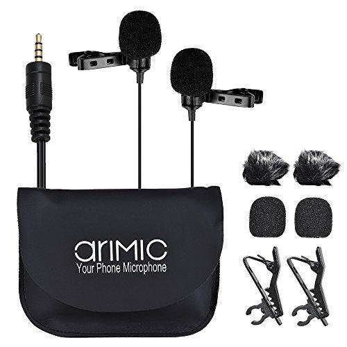ARIMIC Micro cravate omnidirectionnel à double tête à clip et condensateur, longueur de câble 6 m pour iPhone, iPad, iPod, Smartphone Android, appareil photo Canon, Nikon, DSLR