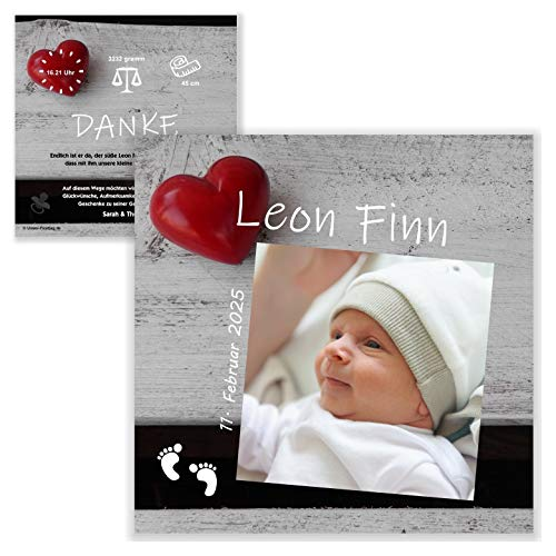 Unser-Festtag Baby mit Herz Geburtskarten Dankeskarte Danksagung schön Baby, Ihr eigener Text wird eingedruckt, Foto - 20 Karten