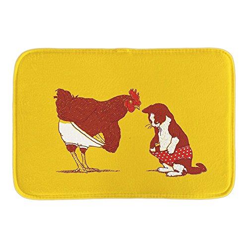 KOOCO Paillasson Animaux Cat et le poulet me montrer le vôtre et j
