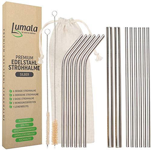 Lumala | 14 Plastikfreie Wiederverwendbare Edelstahl Strohhalme | Trinkhalme aus Metall, umweltschonend, nachhaltig + 2 extra breite Trinkrohre für Cocktail, Bubble Tea (Silber)