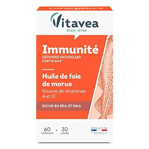 Vitavea- Huile de Foie de Morue - Oméga 3, Vitamine A Et D d'Origine Naturelle - Fabriquée en France - 60 Capsules