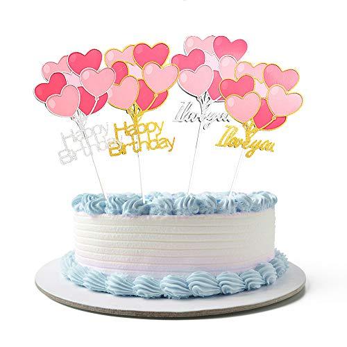 N/D Yemiany Adorno para Tarta,Cupcake Topper,2 Piezas Corazón Feliz Cumpleaños y 2 Piezas I Love You Cake Topper para el Día de San Valentín Fiesta de Cumpleaños Cupcake Postre (Plata,Oro,20x10CM)