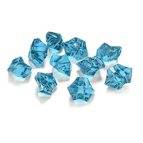 PartyDeco-50 Cristalli di Ghiaccio in PVC, Azzurro Turchese, AC25-083