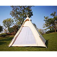 Latourreg Outdoor 2M Canvas Camping Pyramid Tipi Tent Adult Indian Teepee Tent for 2~3 Person