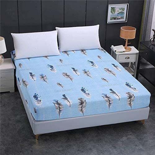 Acogedora funda de colchón elástica ajustable de 100% poliéster de alta calidad con impresión de alta calidad, tamaño personalizable para hotel en casa (color: Yulian, tamaño: 150 x 200 x 26 cm)