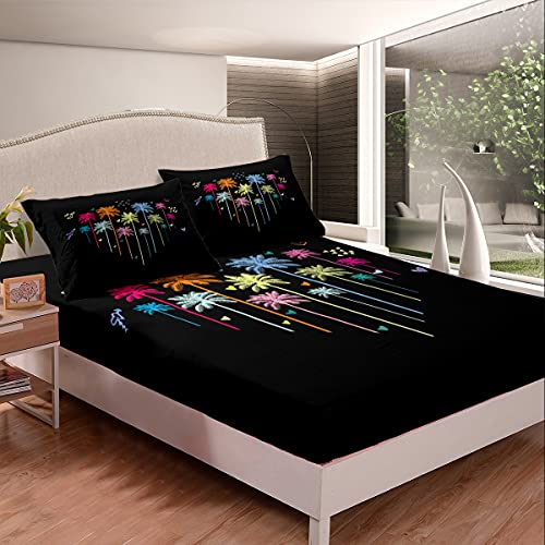 Loussiesd Colorful Palm Tree Bed Sheets for Girls Boys Children Palm Leaf Bedding Set Botanical Nature Bed Sheet Set Abstract Fitted Sheet Black Bedroom 2Pcs Single Size